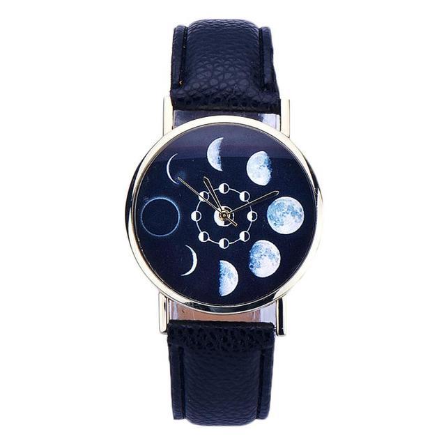 Fashion Lunar Eclipse Pattern Watch Women Elegant Design Clock Leather Quartz Wr