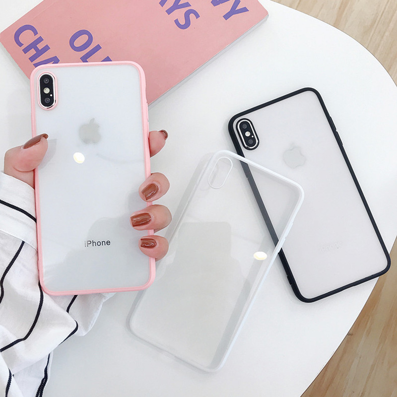 Shockproof Silicone Bumper Frame Transparent Phone Case For iPhone X XS XR XS Max 8 7 6 6S Plus Clear protection Back Cover