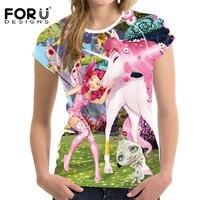 FORUDESIGNS Cute Unicorn T Shirt Women Kawaii Unicornio Woman T Shirt Plus Size 2017 Funny Licorne