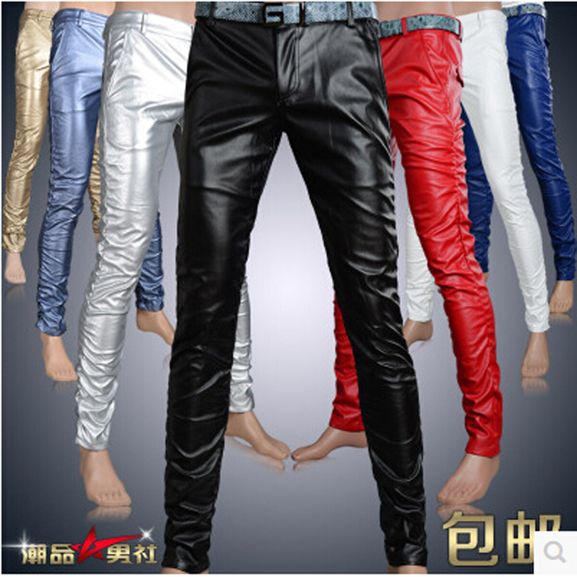 6 Colors Leather Pants Men 1