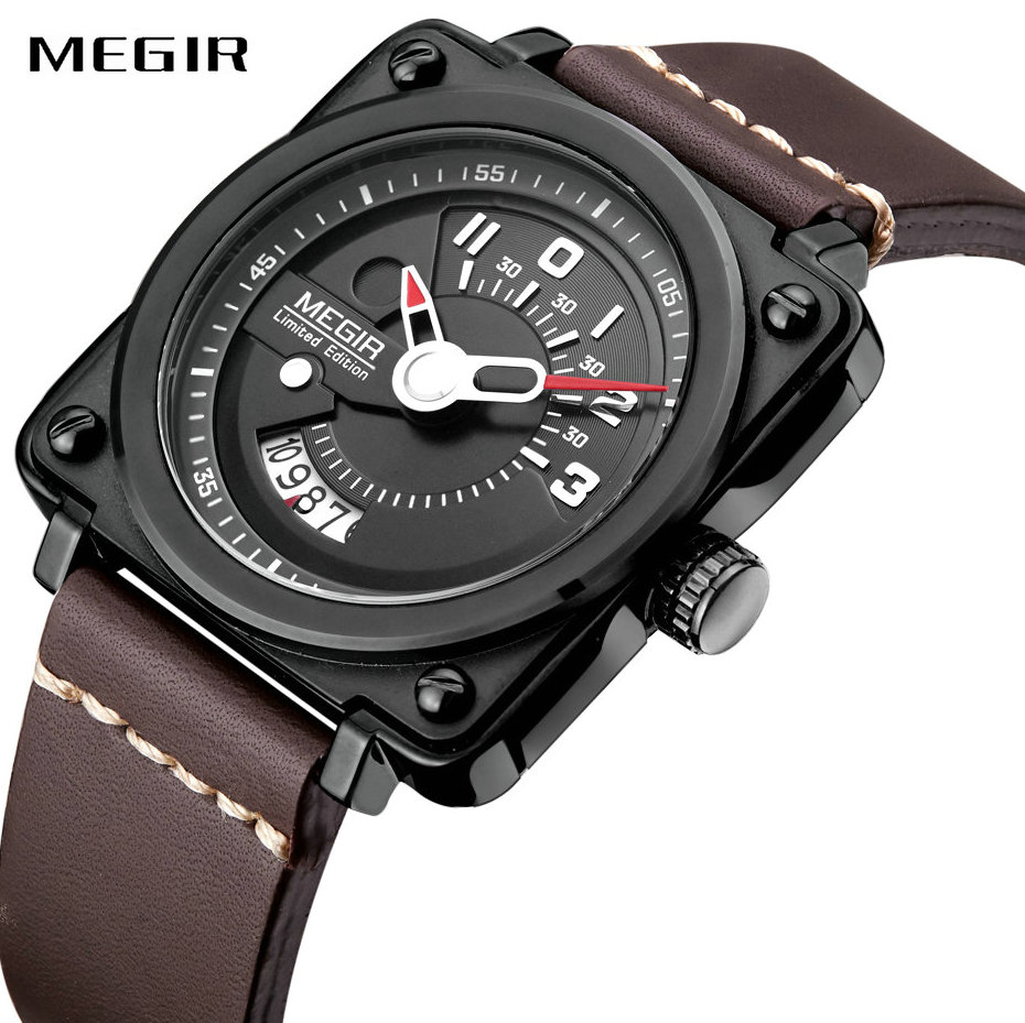 MEGIR Fashion Quartz Watches for Men Leather Band Square Case Top Brand Luxury Mens Watches Calendar Clock Military Wristwatches все цены