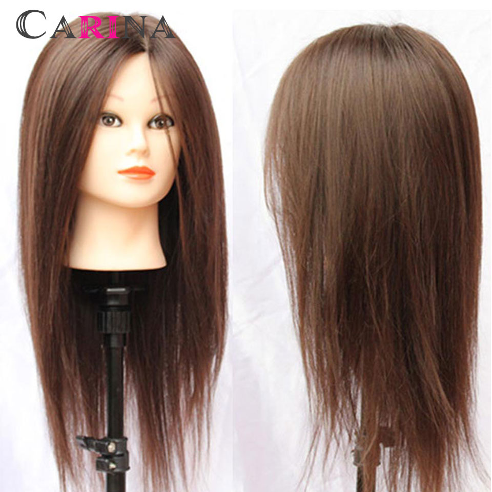 Wholesale Mannequin Head With Hair 18 Brown 80 Natural Soft Human Hair Training Head Hairdressing Mannequin