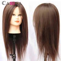 """卸売マネキンヘッド 18 """"ブラウン 80% 軟質天然人毛トレーニングヘッド理髪マネキンヘッド"""