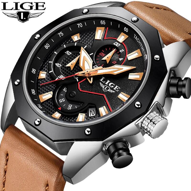 2018 LIGE Hommes Montres Mode Chronographe En Cuir D'affaires Quartz Montre Hommes Militaire Étanche Sport Montre Homme Relojes Hombre