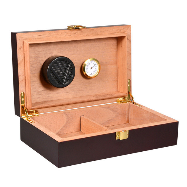Black Piano Finish Cedar Wood Cigar Humidor Storage Box