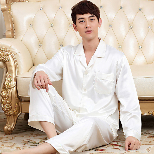 White Silk Pajamas Men Long Sleeve Pajama Sets Loose Confortable Pijamas Spring Male Satin Pyjamas Set  White Sleepwear