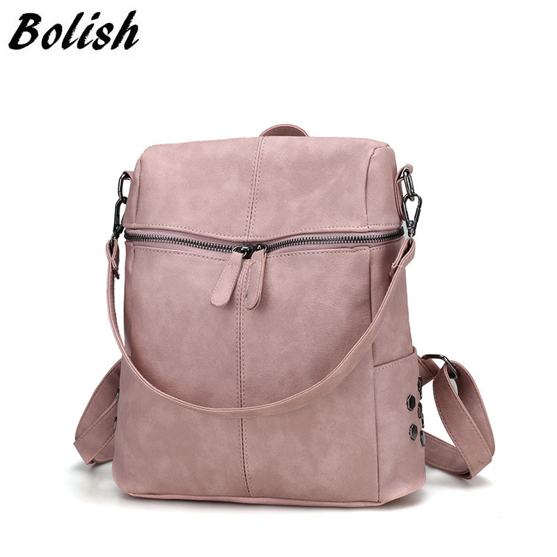 Bolish Simple Style Backpack Women PU Leather Backpacks For Teenage Girls School Bags Fashion Vintage Female Backpack simple preppy style backpack women pu leather backpacks for teenage girls school bags fashion vintage solid shoulder bag black