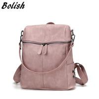 Bolish Simple Style Backpack Women PU Leather Backpacks For Teenage Girls School Bags Fashion Vintage Female