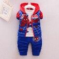 3 Unids Ropa de Niños Sets 2017 Nuevo Otoño Invierno Niño Niños Ropa de Los Muchachos Con Capucha Camiseta de la Capa de la Chaqueta Pantalones Spiderman