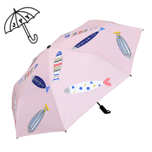 2018 Colorful Fish Umbrell Black Coating Women Rain Umbrella Summer Protect Sun Parasol Student Girlfriend Bag Fashion