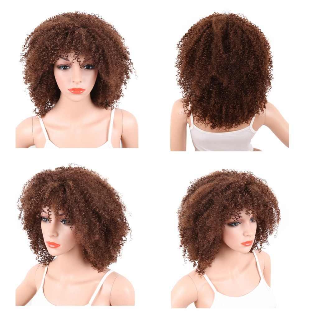 Deyngs corte pixie Afro rizado Rizado corto pelucas sintéticas con flequillo para mujeres negras Color natural marrón pelo afroamericano