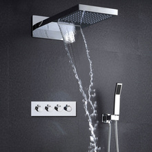 Bathroom Fittings Rain Shower Waterfall Overhead Shower Built In Wall Shower Set with 3 Way Diverter Valve   dcan in wall digital thermostat shower system 3 function exposed intelligent rain waterfall shower set