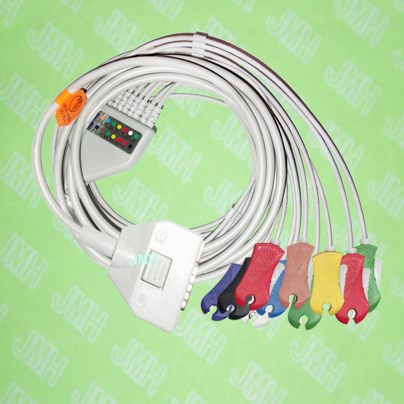 лучшая цена Compatible with 15 pin Fukuda ME KP-500 EKG Patient monitor the One-piece 10 leads ECG cable and Clip leadwires,IEC or AHA.