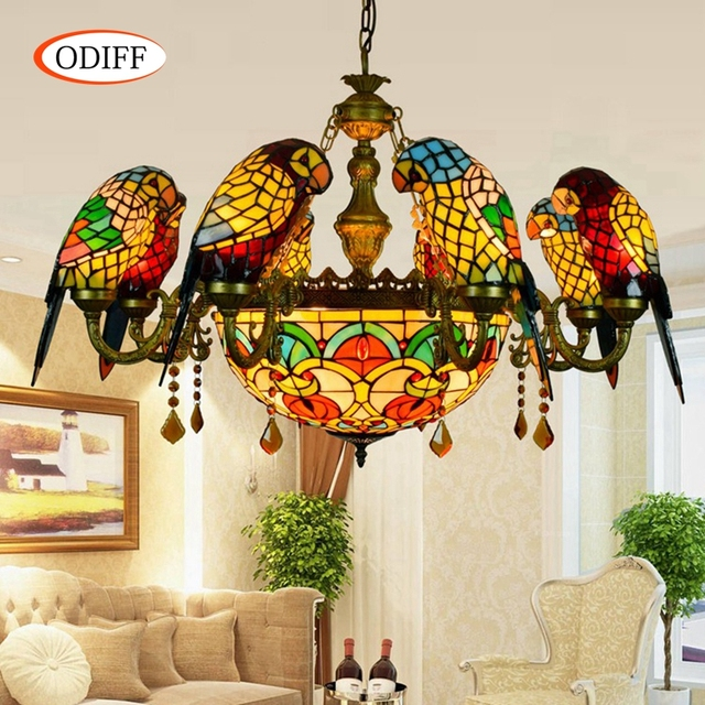 ODIFF European 6 8 Heads Living Room Dining Parrot Crystal Chandelier Bird Stained Glass Foyer