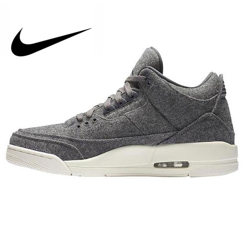 406eb14fd29 Original Authentic Nike Air Jordan 3 Retro Wool Dark Grey Dark Gray Wool Men s  Basketball Shoes
