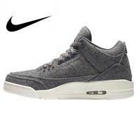 Original Authentic Nike Air Jordan 3 Retro Wool Dark Grey Dark Gray Wool Men's Basketball Shoes AJ 3 Men Massage Sport Shoes
