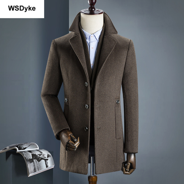2018 New Medium Long Thick Detachable Liner Men Wool Coat High Quality Turn Down Collar Casacos Masculino 2