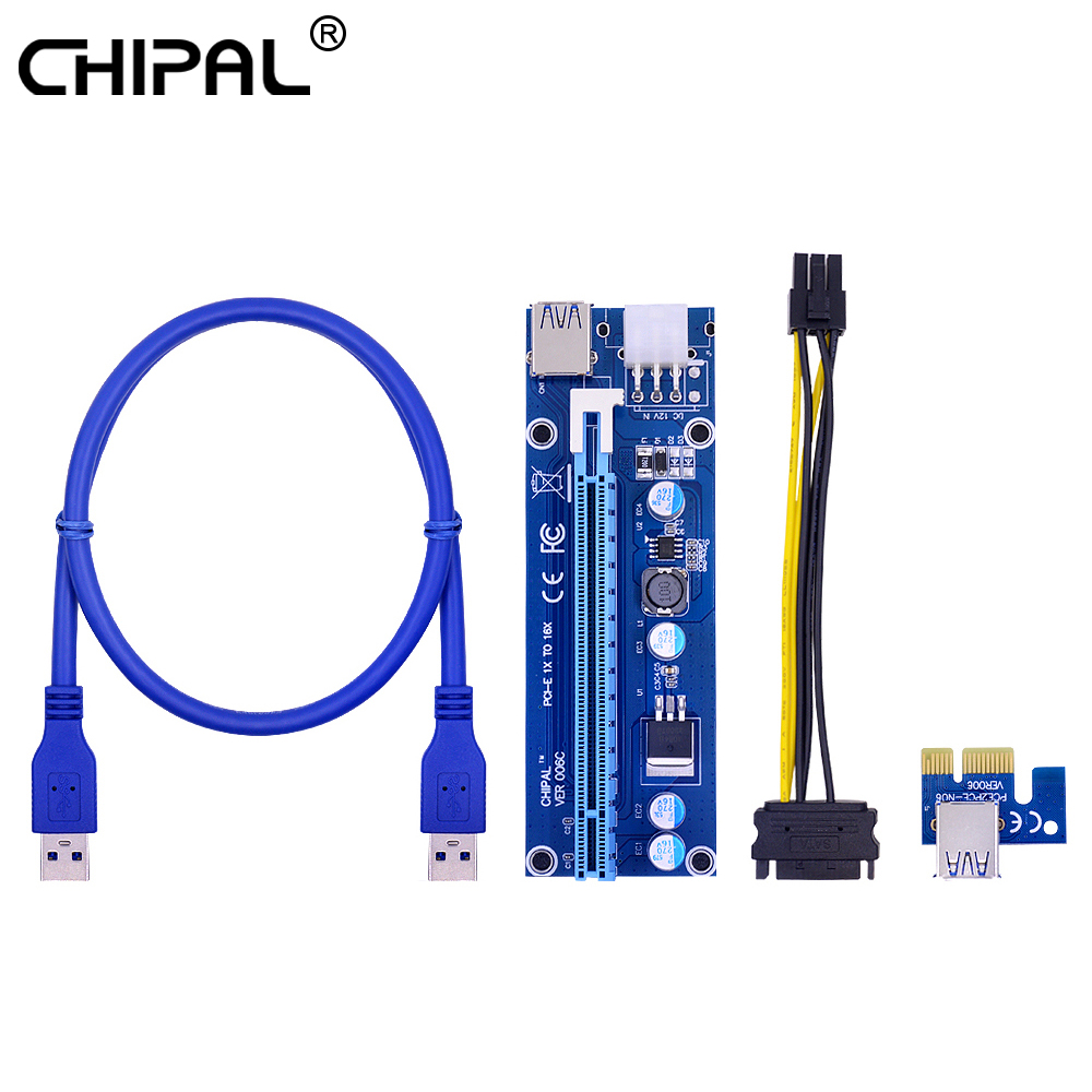 CHIPAL VER006C PCI-E Riser Card PCI Express PCIE 1X к 16X адаптеру 100 см 60 см USB 3,0 кабель SATA 6 Pin Power для майнинга биткойнов