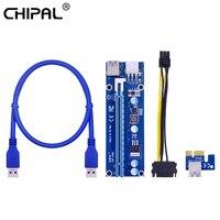 CHIPAL-Tarjeta elevadora VER006C PCI-E, adaptador extensor PCIE Express de 1x a 16X, 100CM, 60CM, Cable USB 3,0, Cable SATA a 6 pines