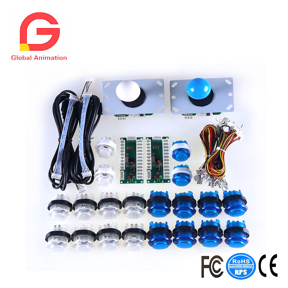 LED Arcade DIY Parts 2x Zero Delay USB Encoder + 2x 8 Way Joystick + 20x LED Illuminated Push Buttons for Mame Jamma Arcade new led arcade game diy parts 2 x 5pin 5v 2 4 8 way led illuminated joystick 16 x led illuminated push button for mame game