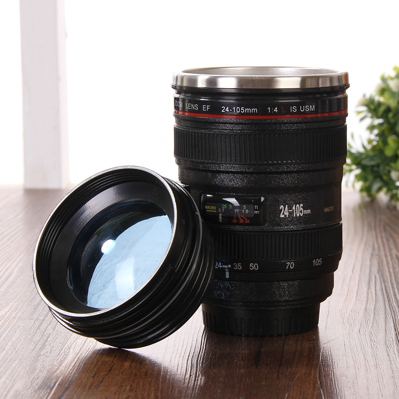 Creative Camera Lens Coffee Mugs Stainless Steel Travel