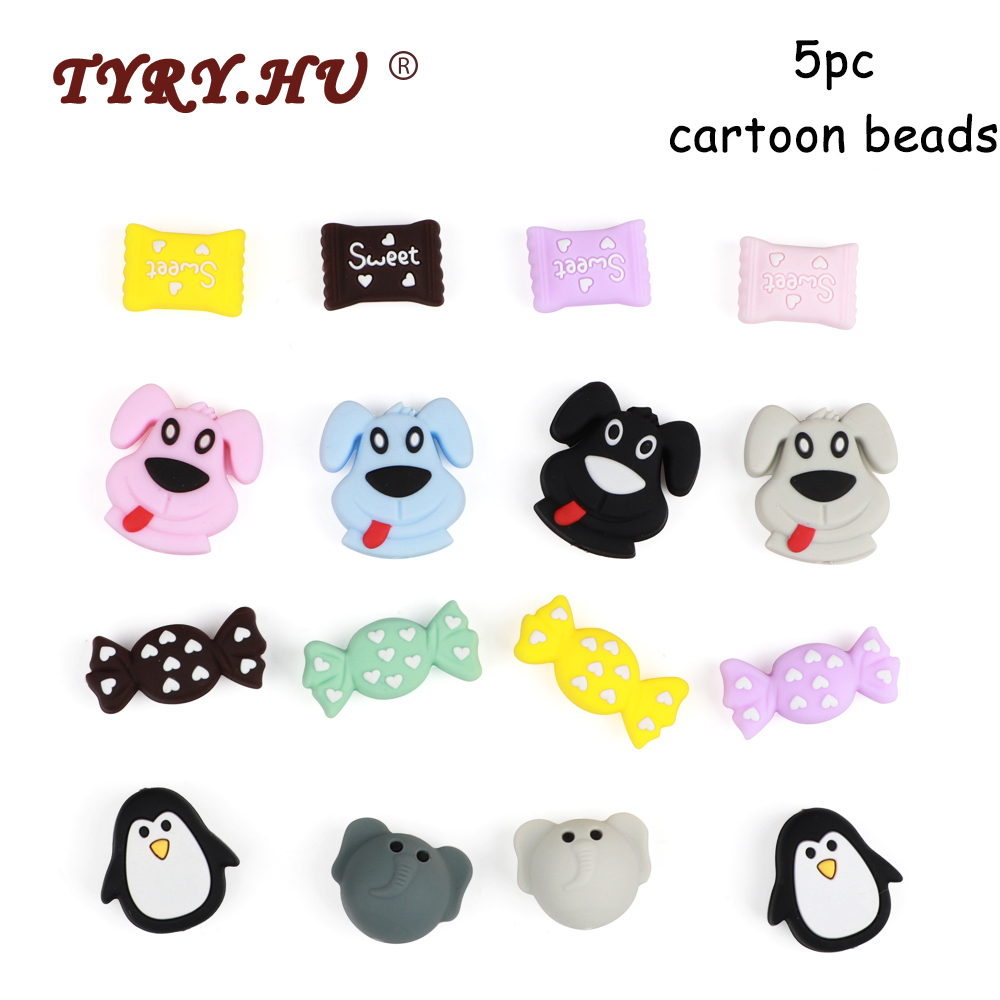 TYRY.HU 5pc/lot Food Grade Cartoon Silicone Beads Mini Candy Penguin Puppy Elephant Baby Teether BPA Free DIY Baby Teething Toys