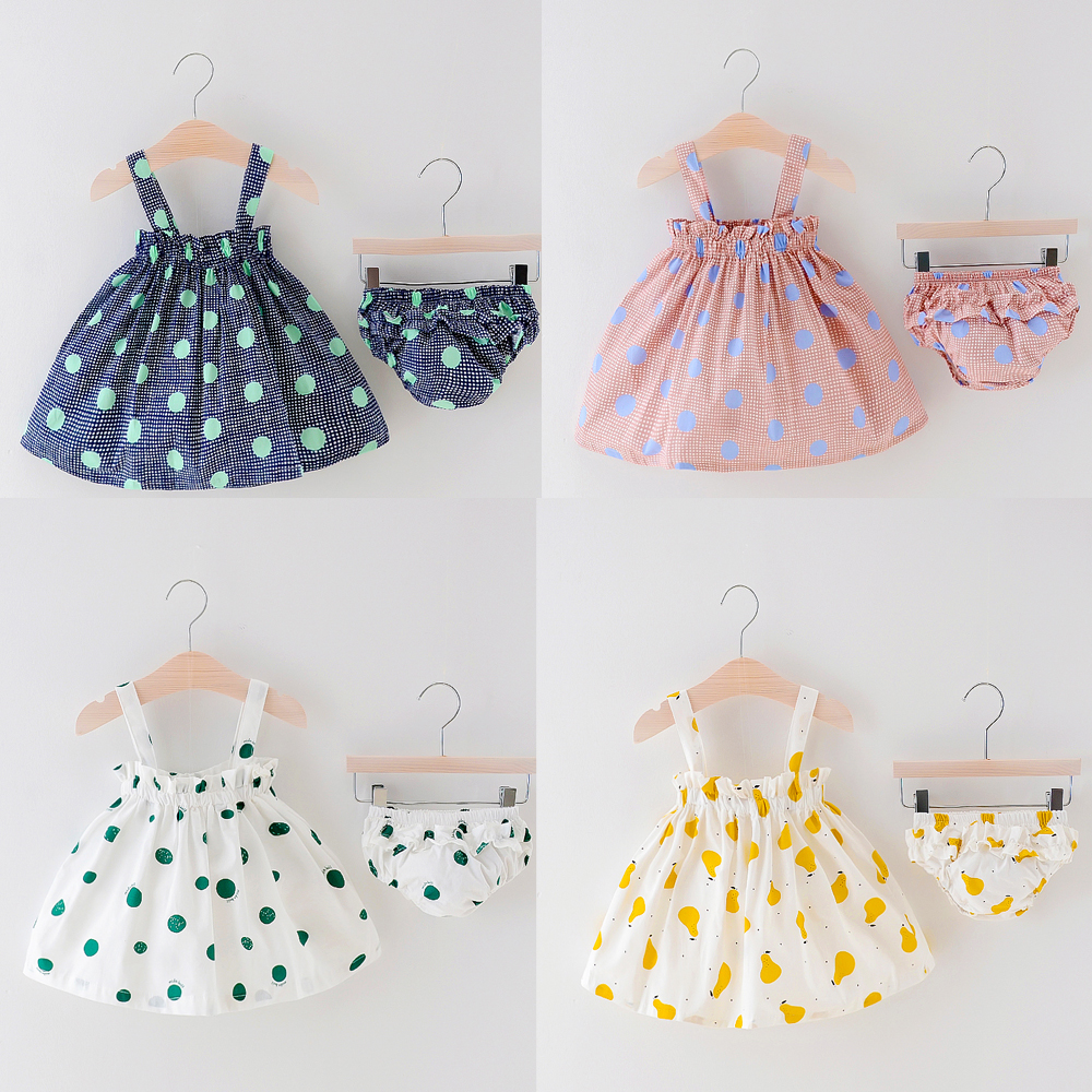 8157b0bb5ebd1 2018 Newborn Baby Girls Clothes Sleeveless Dress+Briefs 2PCS Outfits Set  Striped Printed Cute Clothing Sets Summer Sunsuit 0-24M
