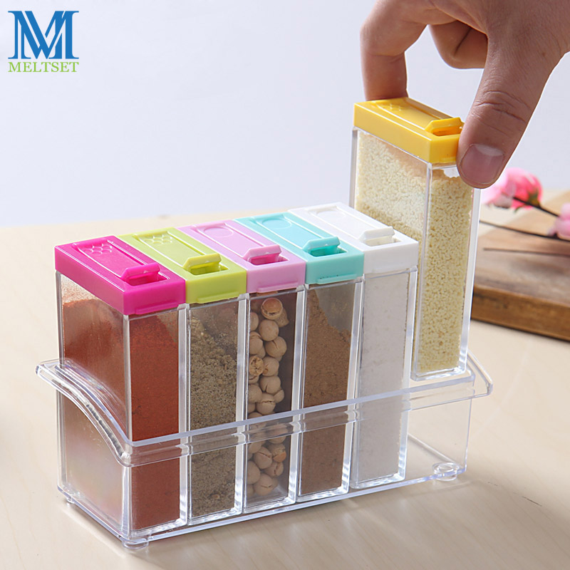 6pcs Transparent Spice Jar Set Salt and Pepper Seasoning Bottle Colorful Lid Kitchen Condiment Cruet Storage Container