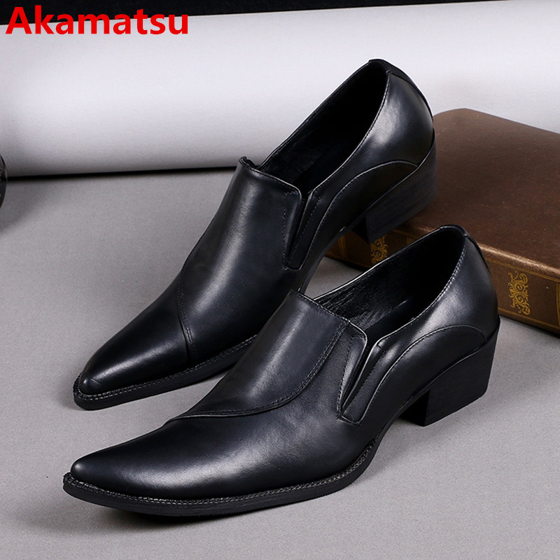 Mens shoes high heels black genuine leather square toe oxford shoes for men slip-on dress formal prom zapatos hombre vestir choudory summer dress crocodile skin shoes men breathable prom shoes full grain leather pointy mens formal shoes shoe lasts