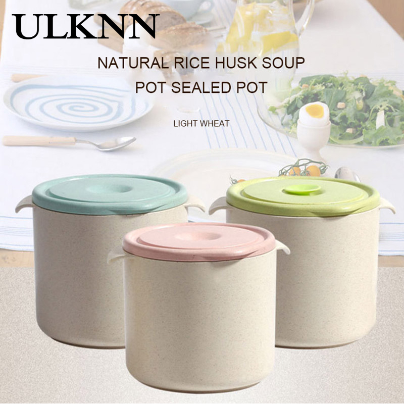 ULKNN Sealed Porridge Pot New Cute Creative Round Wheat Fiber Porridge Cup Milk Powder Cans To Work Soup Box Microwave Soup Pot image