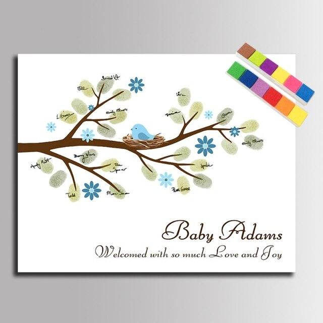 Diy Fingerabdruck Unterschrift Baum Leinwand Malerei Baby Vogel Fur