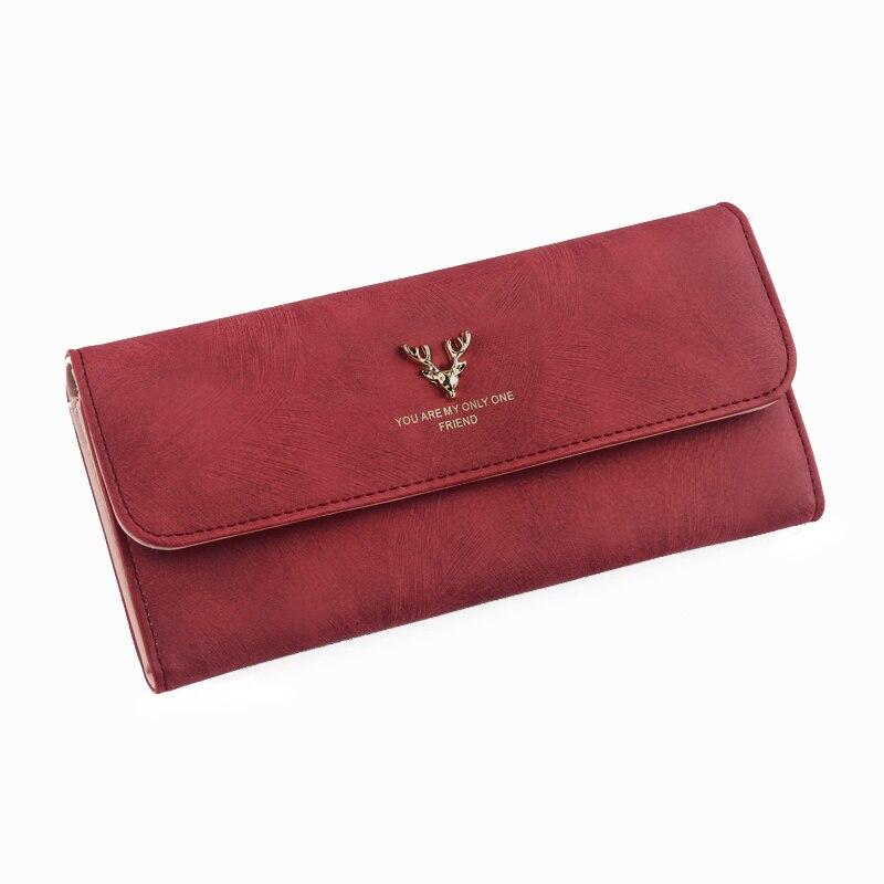 Women Wallet Long Scrub Bag Antlers Female Leather Money Bag Women Clutch Phone Female Purse Card Holder Feminima Bolsa Vintage wallet