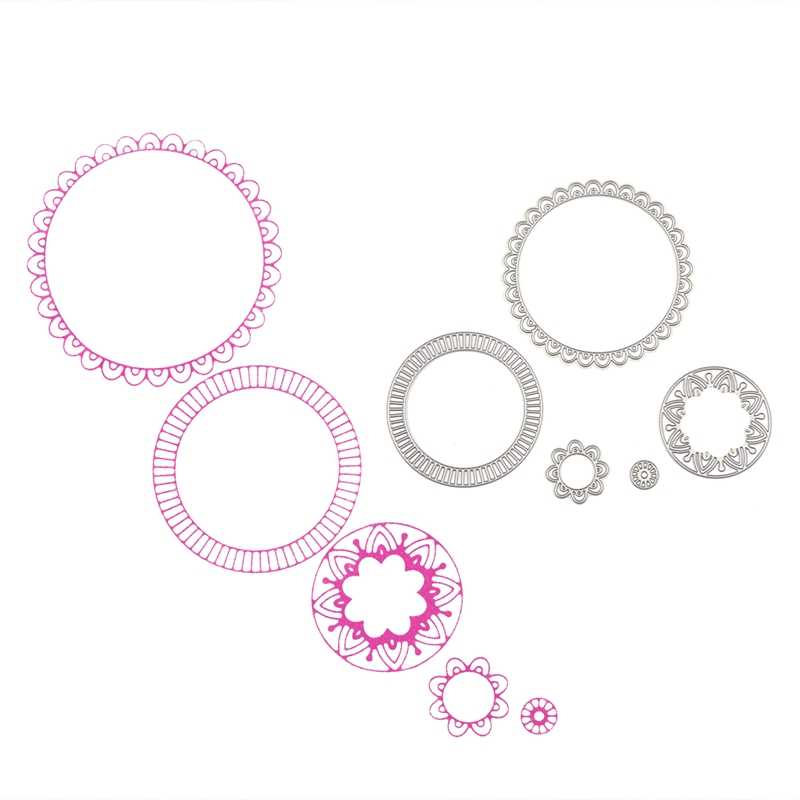 5pcs Flower Circle Layers Metal Cutting Dies For DIY Scrapbooking Album Embossing Card Decorative Crafts