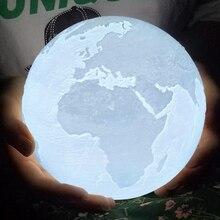 Rambery مصباح قمري ثلاثية الأبعاد طباعة الأرض القمر ضوء Recharg إضاءة ليد ليلية ضوء 2 ألوان اللمس ديكور المنزل الإبداعية هدية