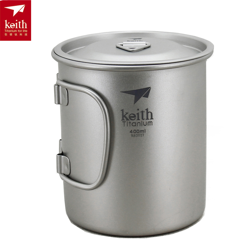 Keith Titanium Water Cup with Folding Handle Camping Outdoor Hiking Mug Tableware Drinkware