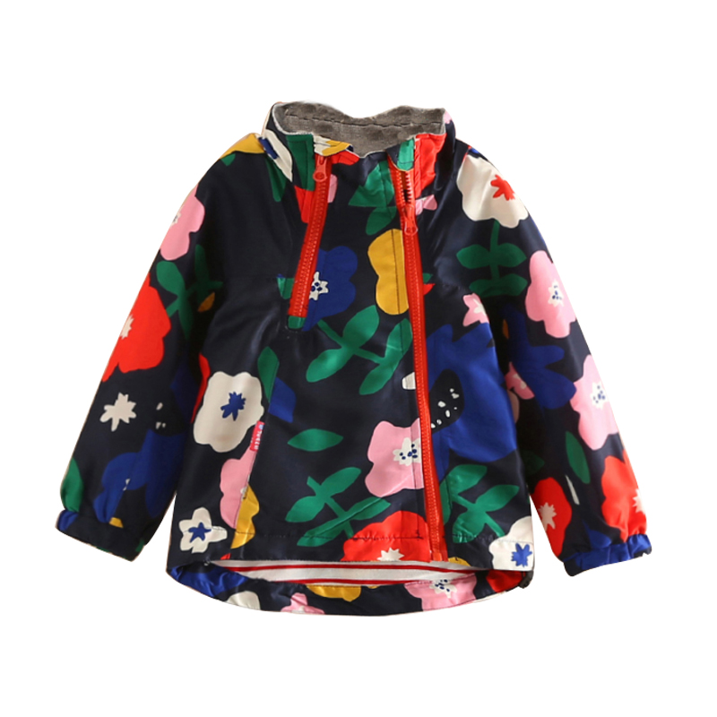 2018 Spring autumn Girls Jacket Girl Coat Print Cartoon Hooded Zipper Jacket Kids Windbreaker Outerwear