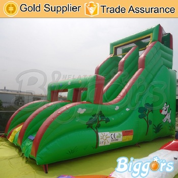 Commercial PVC Outside Cartoon Jungle Inflatable Slide Jumping Summer Games