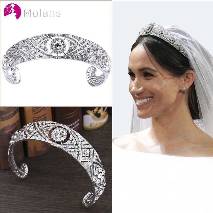 MOLANS British Prince's Marriage Diamond Crown For Wedding Sterling Silver Hollow Inlaid Drill With Hair Combs Bride Jewelry