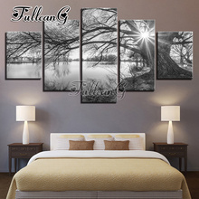FULLCANG Full Square Diamond Embroidery Lakeside Tree Landscape Diy 5PCS Painting Cross Stitch Mosaic Kits G652