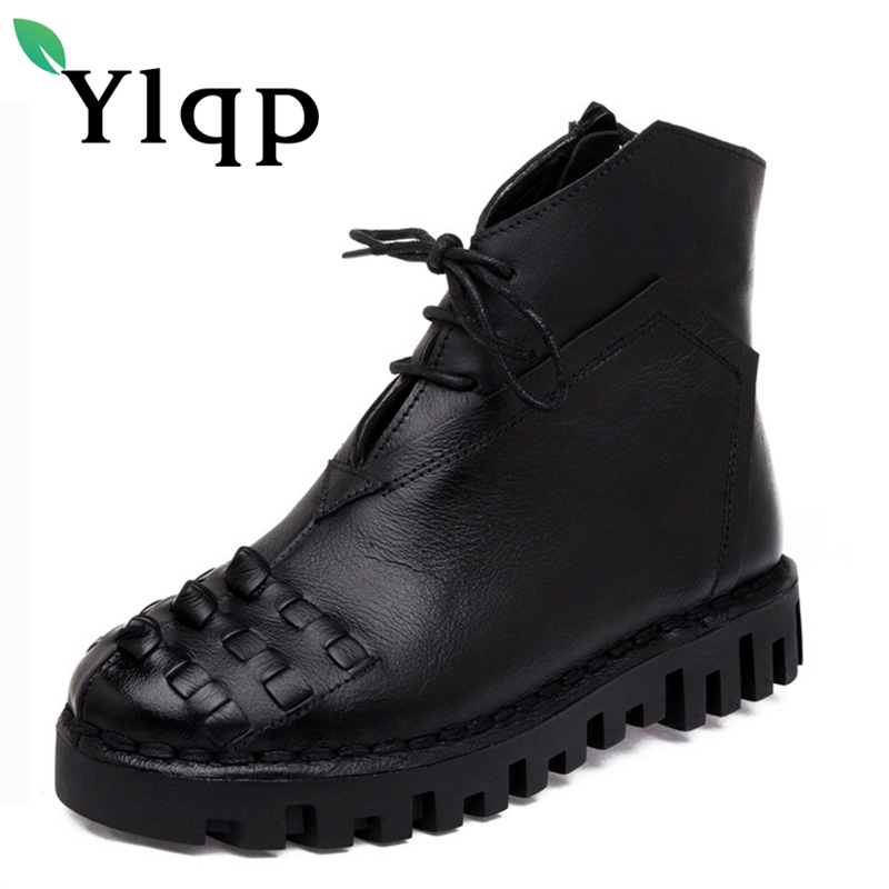 Ylqp 2018 Winter Female Genuine Leather Shoes Comfortable Warm Boots Women Zipper Black Casual Handmade Boots Zapatos Mujer Boot bacia 2017 women winter boots casual super comfortable genuine leather boots female black warm wool fur shoes size 36 41 mb019