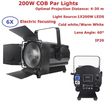 Aluminium COB Par 200W Warm Wit/Koud Wit LED Par Kan DMX Stage Par Led Spotlight Dj projector Wash Verlichting Podium Licht
