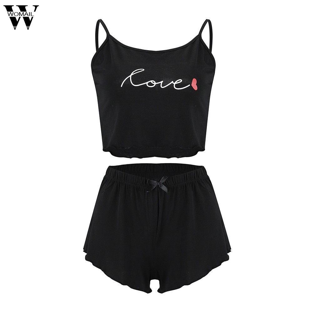 Womail Women Tracksuit Summer Fashion Casual 2 Piece V-Neck Sleeveless Crop Cami Tops+Short Set Beach Holiday 2019 J611