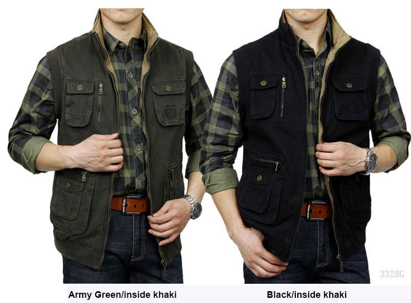 M~3XL 2015 Autumn Spring Reversible Casual Men Vest Coat AFS JEEP Cotton Pocket Cargo Outdoor Sleeveless Jackets Waistcoat Vests (2)