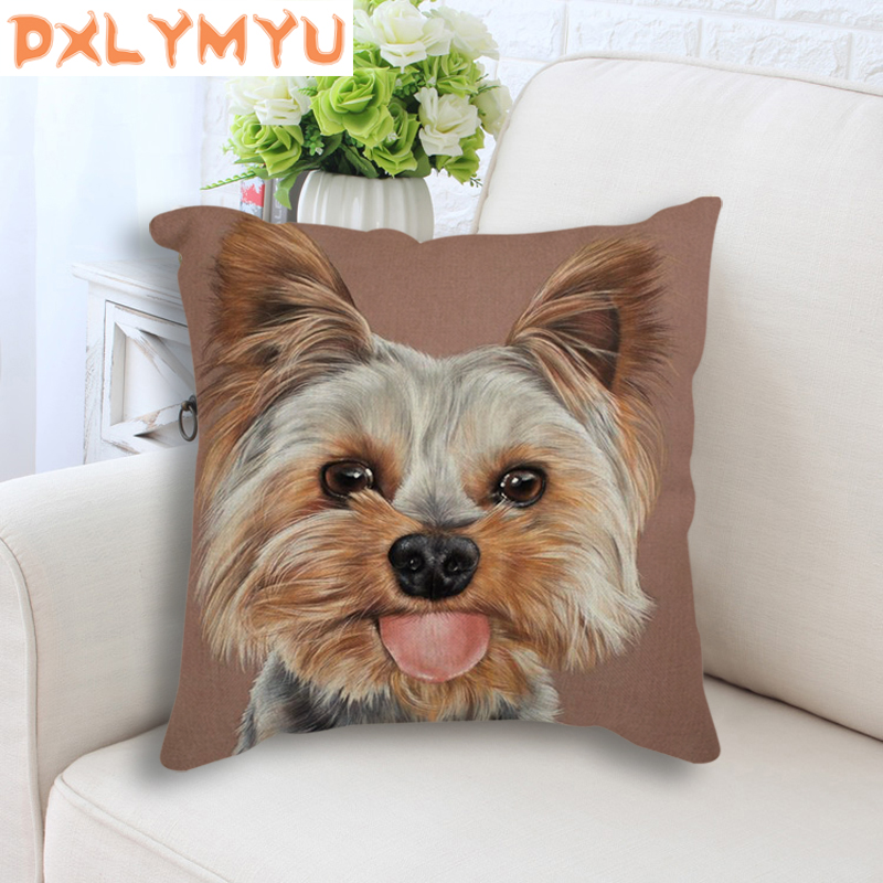 18 quot Cotton Linen Small Dogs Poodle Print Square Pillowcase Decorative Throw Pillow Cushions For Sofa Car Home Decor No Fill in Cushion from Home amp Garden