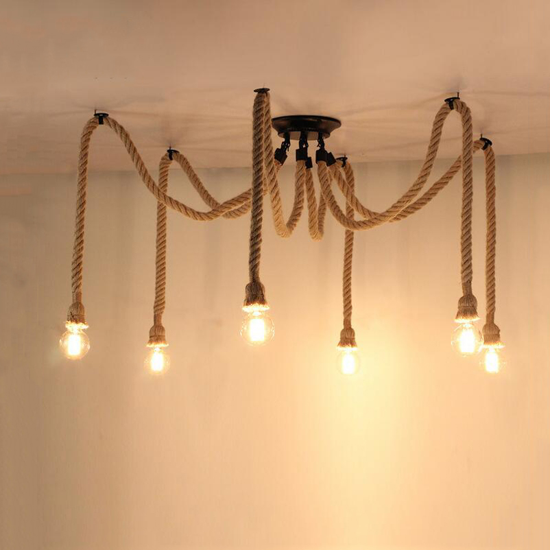Retro loft rope pendant lamp DIY lamp bar dining room living room restaurant cafe bedroom new house light E27 Edison chandelier loft restaurant dining room bar bedroom living room aisle cafe pendant lamp retro art wood iron cage pendant light hanging light