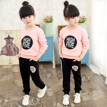 Hot Sales 2016 spring and autumn girls sports sets fashion pullover sweatshirts + pants casual baby girl set