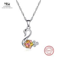 LEKANI Crystals From Swarovski Necklace 925 Ladies Swan Premium Fine Jewelry Wedding Party Pendant Collier