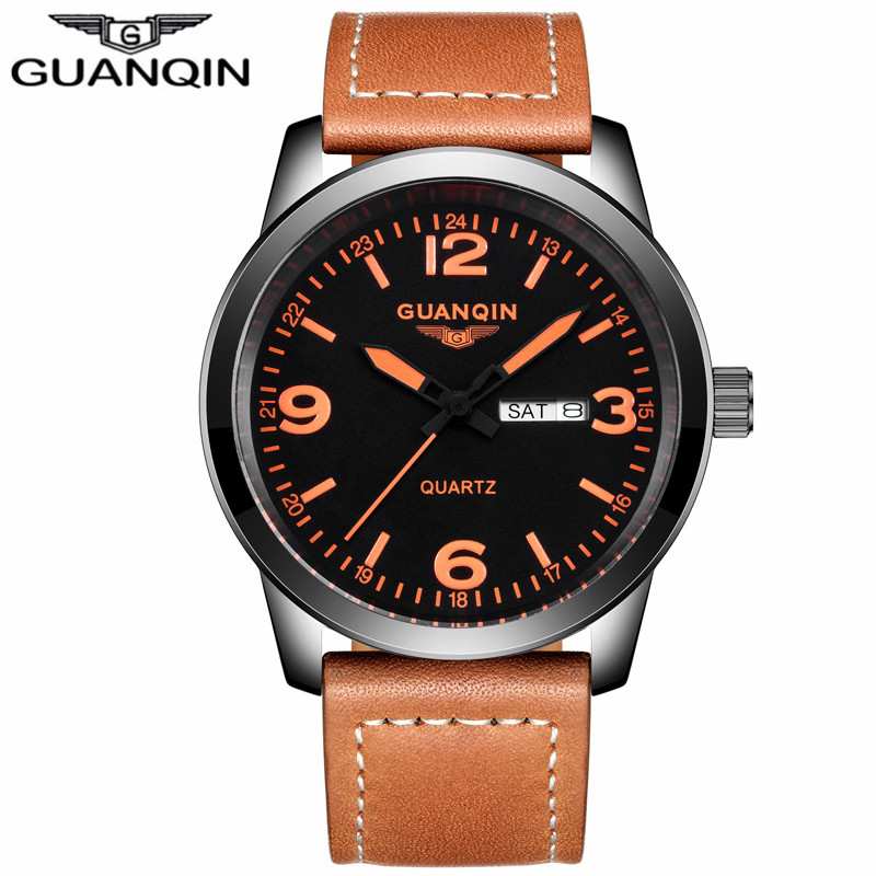 ФОТО GUANQIN GS19036 New Arrival Male Watches Luxury Top Brand Men's Army Military Watch Luminous Leather Sport Quartz Wrist Watches