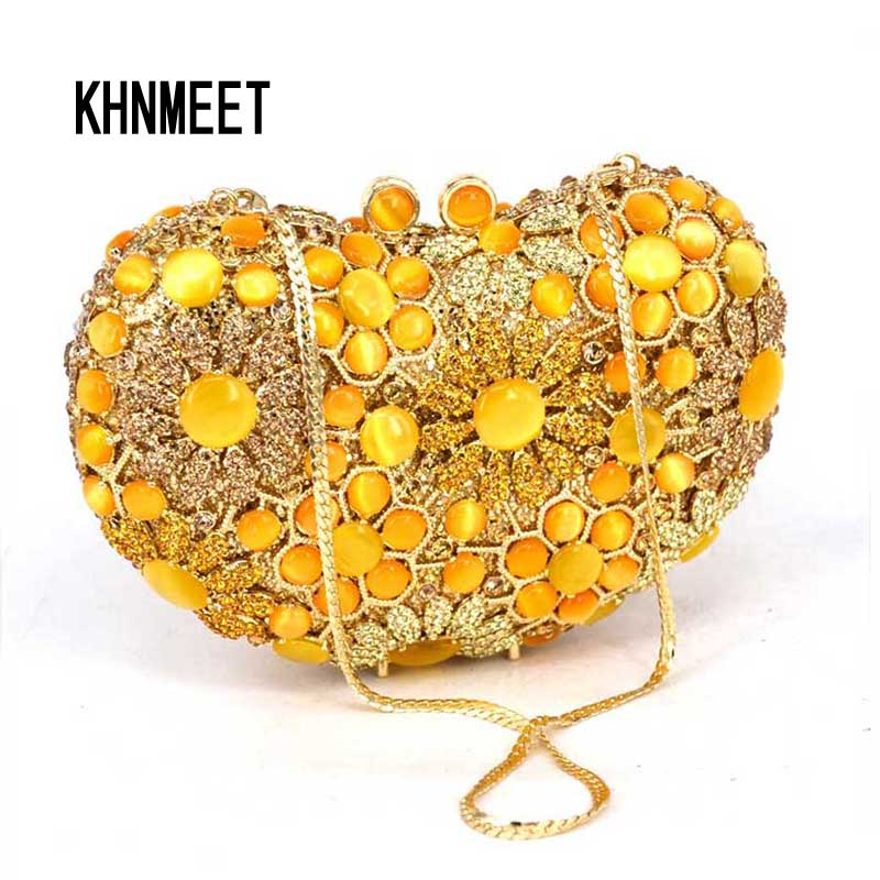 Fashion Elegant Golden Luxury Designer Crystal Gemstone Evening Bags Women Party Bag Ladies Evening Clutches Female Feast Purse free shipping a15 36 sky blue color fashion top crystal stones ring clutches bags for ladies nice party bag