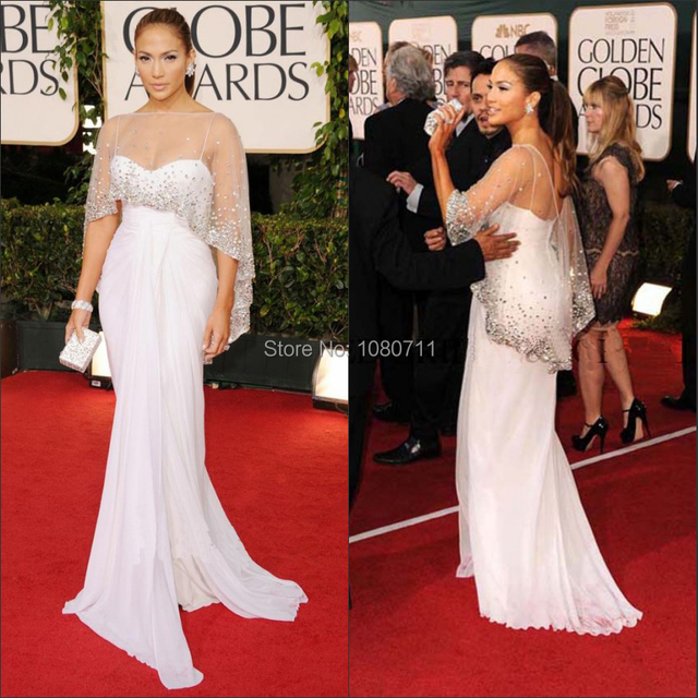 0830816fc445 Elegant Jennifer Lopez 2011 Golden Globe Awards White Chiffon Dress 2014  Celebrity Dresses Evening Party Gown Custom made